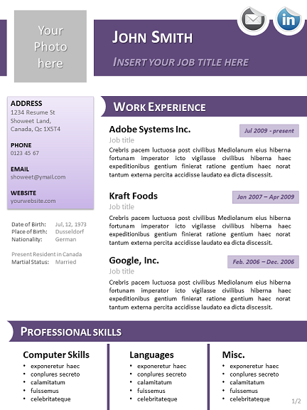 professional cv template open office